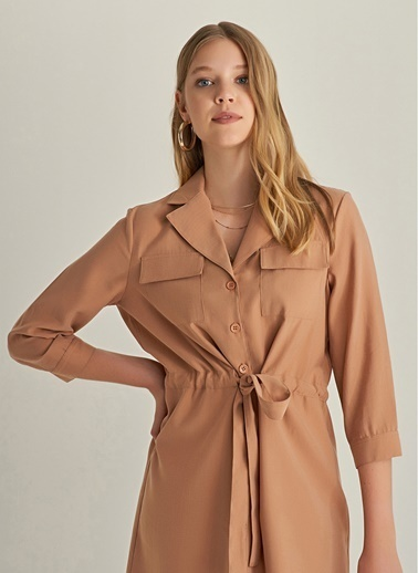 NGSTYLE Çift Cepli Lyosel  Gömlek Elbise Camel
